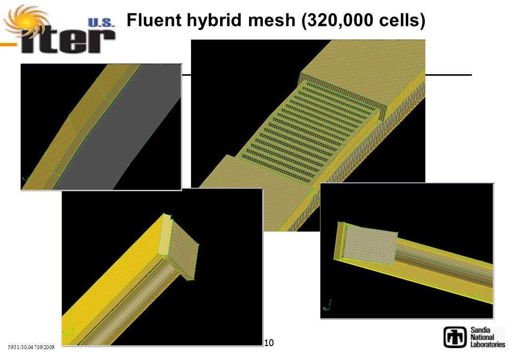 5931/30.04 709/2009 10 Fluent hybrid mesh (320,000 cells)