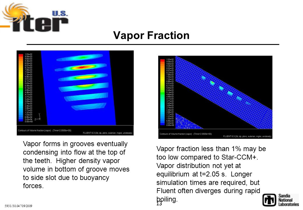 5931/30.04 709/2009 13 Vapor Fraction Vapor fraction less than 1% may be too low compared to Star-CCM+.