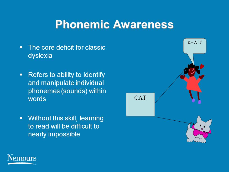 Symptoms of Possible Dyslexia in Young Children  Difficulty recognizing and writing letters in kindergarten  Difficulty connecting letters to their sounds  Difficulty breaking words into syllables (e.g., baseball into base and ball)  Difficulty recognizing rhyming words