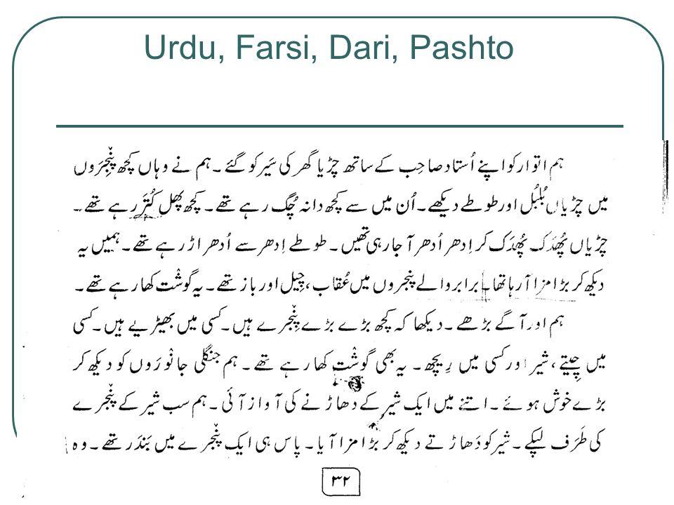 Urdu, Farsi, Dari, Pashto