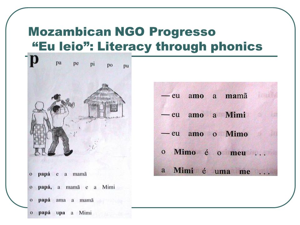 Mozambican NGO Progresso Eu leio : Literacy through phonics