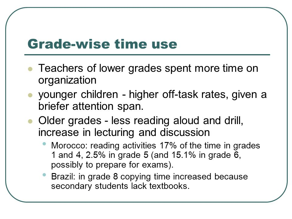 Grade-wise time use Teachers of lower grades spent more time on organization younger children - higher off-task rates, given a briefer attention span.