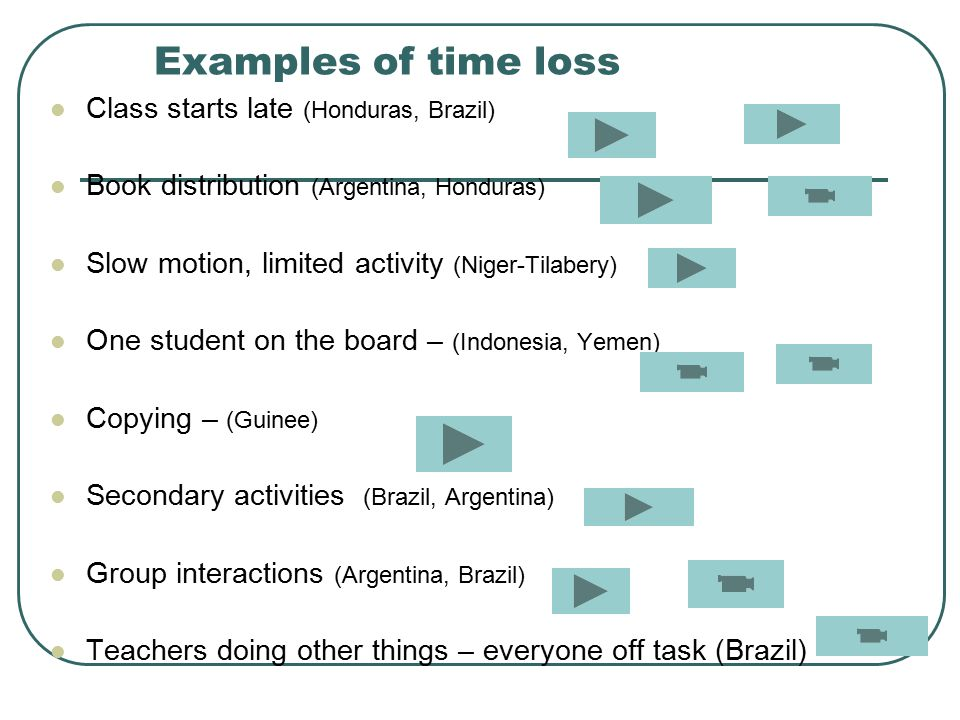 Examples of time loss Class starts late (Honduras, Brazil) Book distribution (Argentina, Honduras) Slow motion, limited activity (Niger-Tilabery) One student on the board – (Indonesia, Yemen) Copying – (Guinee) Secondary activities (Brazil, Argentina) Group interactions (Argentina, Brazil) Teachers doing other things – everyone off task (Brazil)