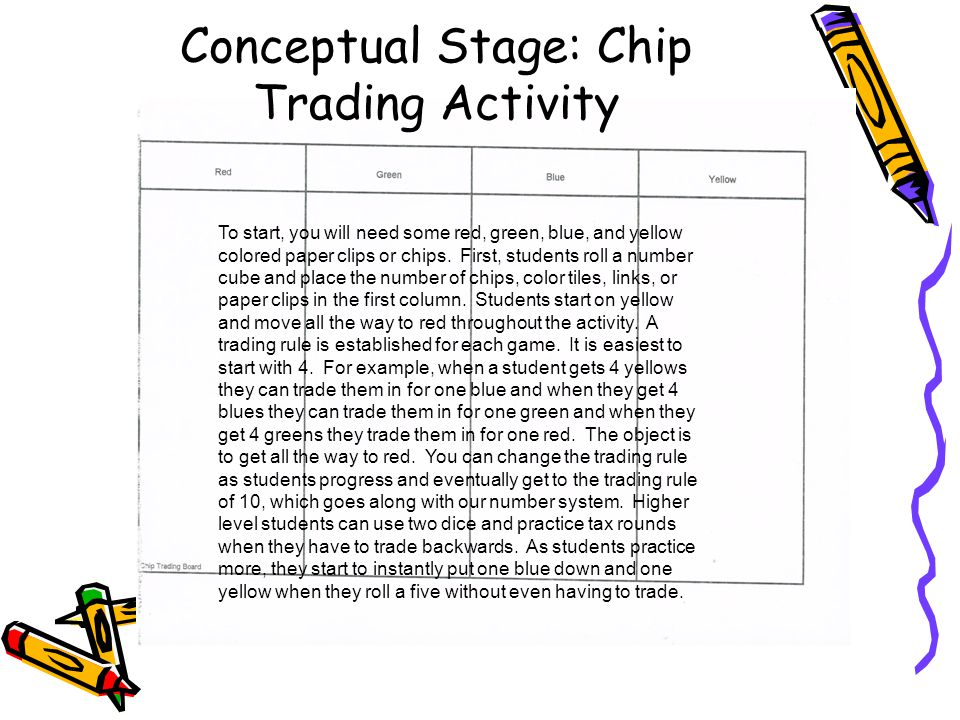 Conceptual Stage: Chip Trading Activity To start, you will need some red, green, blue, and yellow colored paper clips or chips.