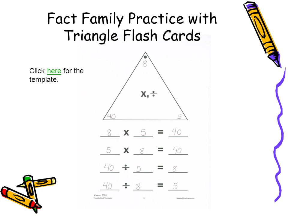 Fact Family Practice with Triangle Flash Cards Click here for the template.here