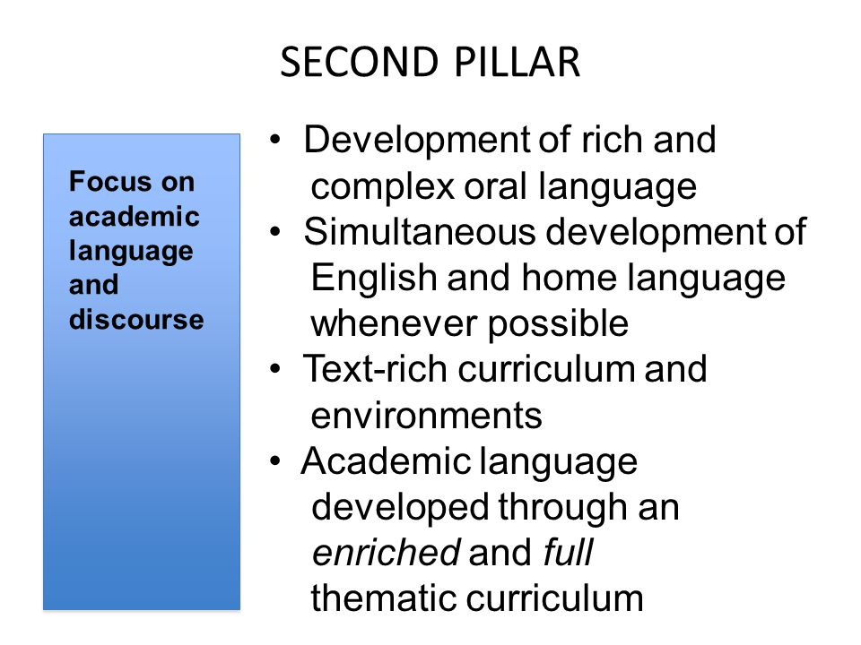 SECOND PILLAR Focus on academic language and discourse Development of rich and complex oral language Simultaneous development of English and home language whenever possible Text-rich curriculum and environments Academic language developed through an enriched and full thematic curriculum