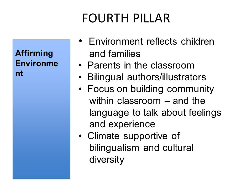 FOURTH PILLAR Affirming Environme nt Environment reflects children and families Parents in the classroom Bilingual authors/illustrators Focus on building community within classroom – and the language to talk about feelings and experience Climate supportive of bilingualism and cultural diversity
