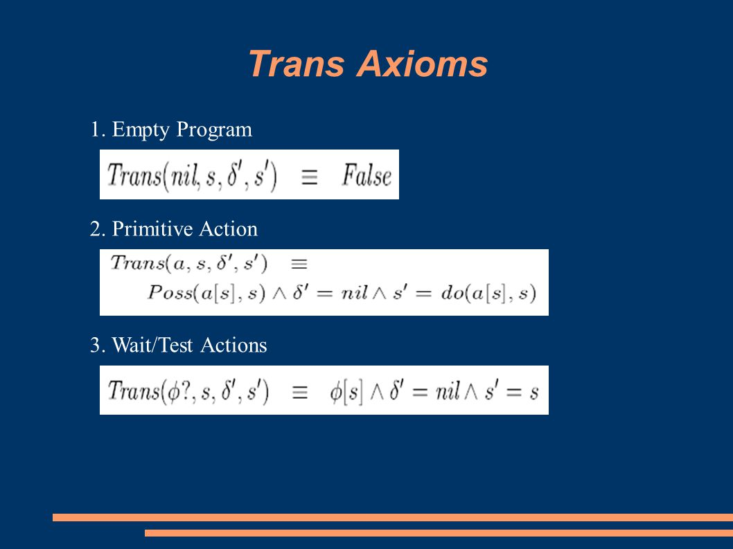 Trans Axioms 1. Empty Program 2. Primitive Action 3. Wait/Test Actions