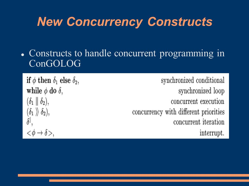 New Concurrency Constructs Constructs to handle concurrent programming in ConGOLOG