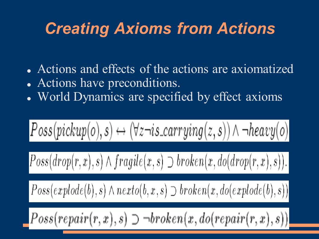 Creating Axioms from Actions Actions and effects of the actions are axiomatized Actions have preconditions.