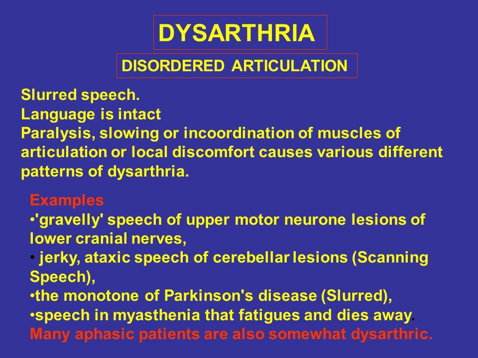 DYSARTHRIA Slurred speech.