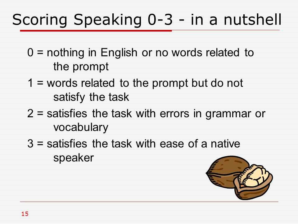 Scoring Speaking 0-3 - in a nutshell 15 0 = nothing in English or no words related to the prompt 1 = words related to the prompt but do not satisfy the task 2 = satisfies the task with errors in grammar or vocabulary 3 = satisfies the task with ease of a native speaker