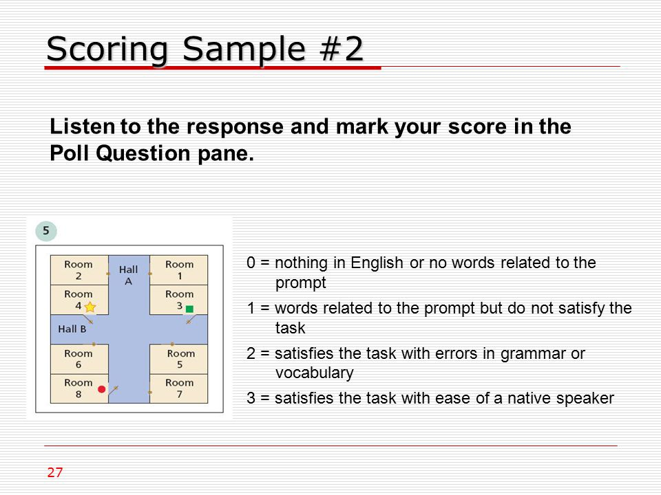 Scoring Sample #2 0 = nothing in English or no words related to the prompt 1 = words related to the prompt but do not satisfy the task 2 = satisfies the task with errors in grammar or vocabulary 3 = satisfies the task with ease of a native speaker 27 Listen to the response and mark your score in the Poll Question pane.