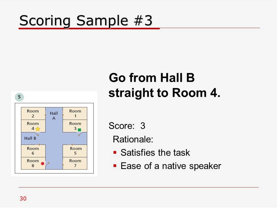 Scoring Sample #3 Go from Hall B straight to Room 4.