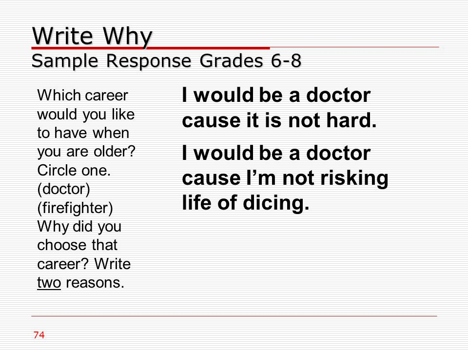 Write Why Sample Response Grades 6-8 74 I would be a doctor cause it is not hard.