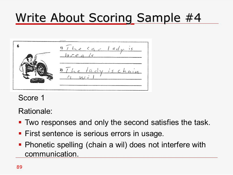Write About Scoring Sample #4 89 Score 1 Rationale:  Two responses and only the second satisfies the task.