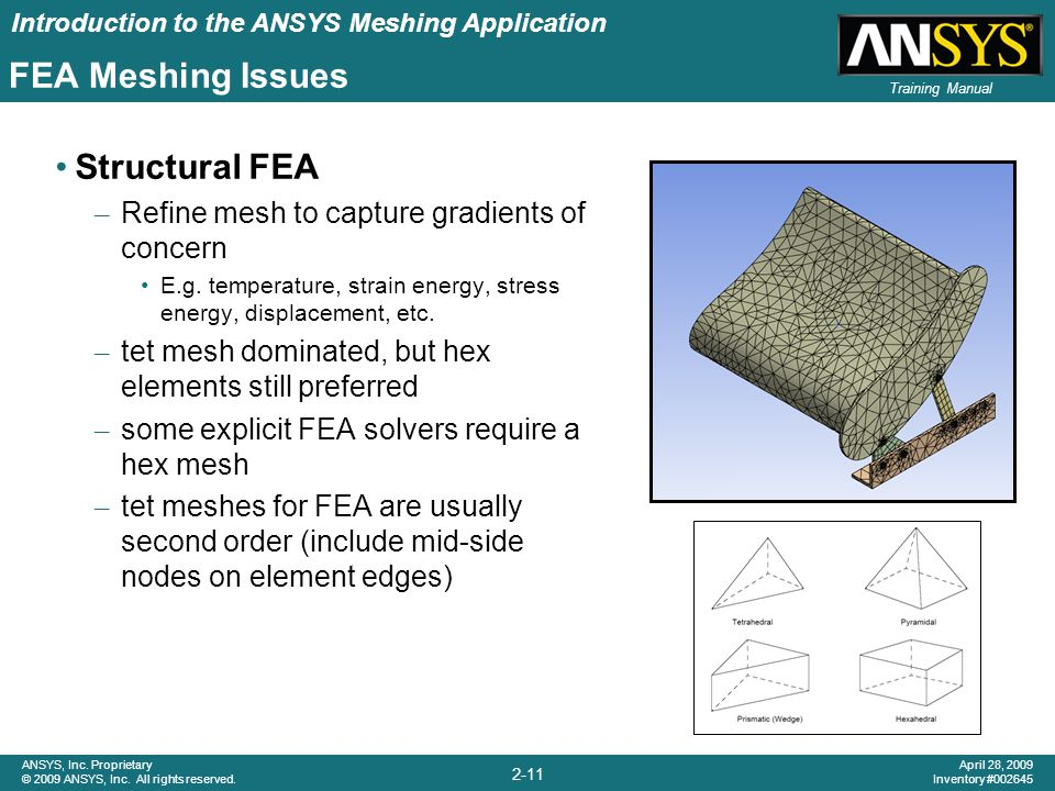 Introduction to the ANSYS Meshing Application 2-11 ANSYS, Inc. Proprietary © 2009 ANSYS, Inc. All rights reserved. April 28, 2009 Inventory #002645 Tr