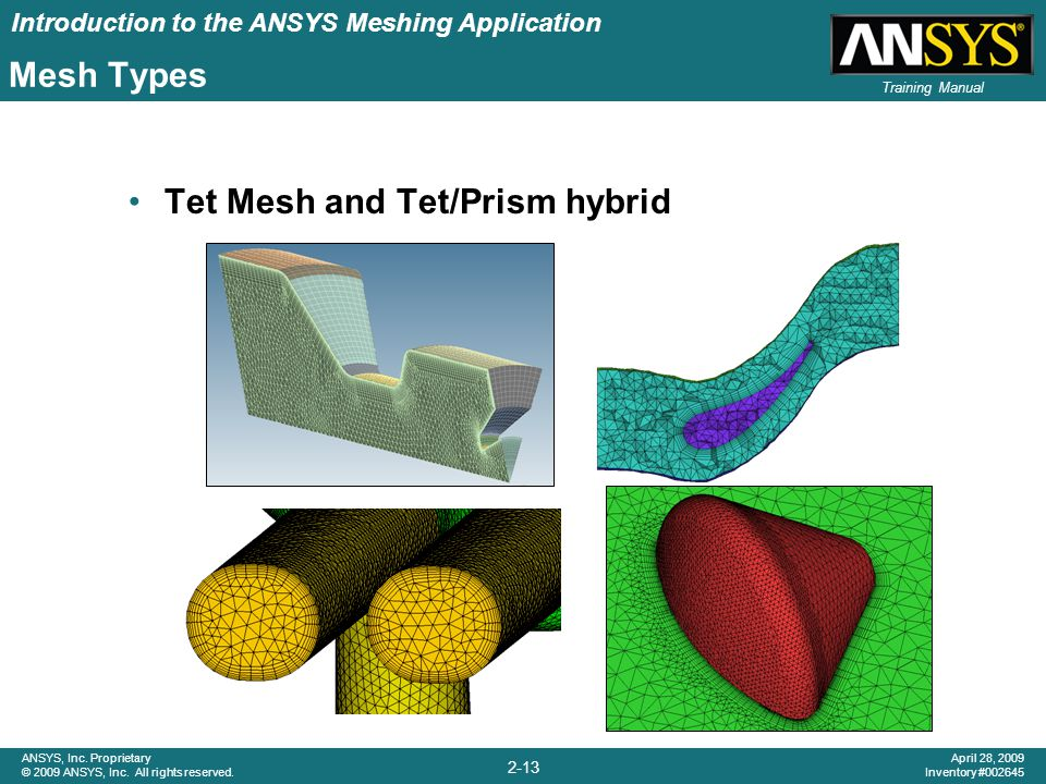 Introduction to the ANSYS Meshing Application 2-13 ANSYS, Inc. Proprietary © 2009 ANSYS, Inc. All rights reserved. April 28, 2009 Inventory #002645 Tr