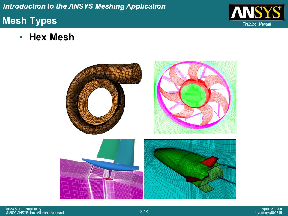 Introduction to the ANSYS Meshing Application 2-14 ANSYS, Inc. Proprietary © 2009 ANSYS, Inc. All rights reserved. April 28, 2009 Inventory #002645 Tr