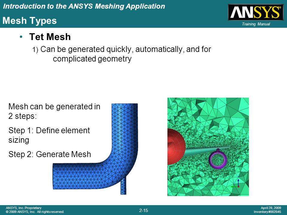 Introduction to the ANSYS Meshing Application 2-15 ANSYS, Inc. Proprietary © 2009 ANSYS, Inc. All rights reserved. April 28, 2009 Inventory #002645 Tr