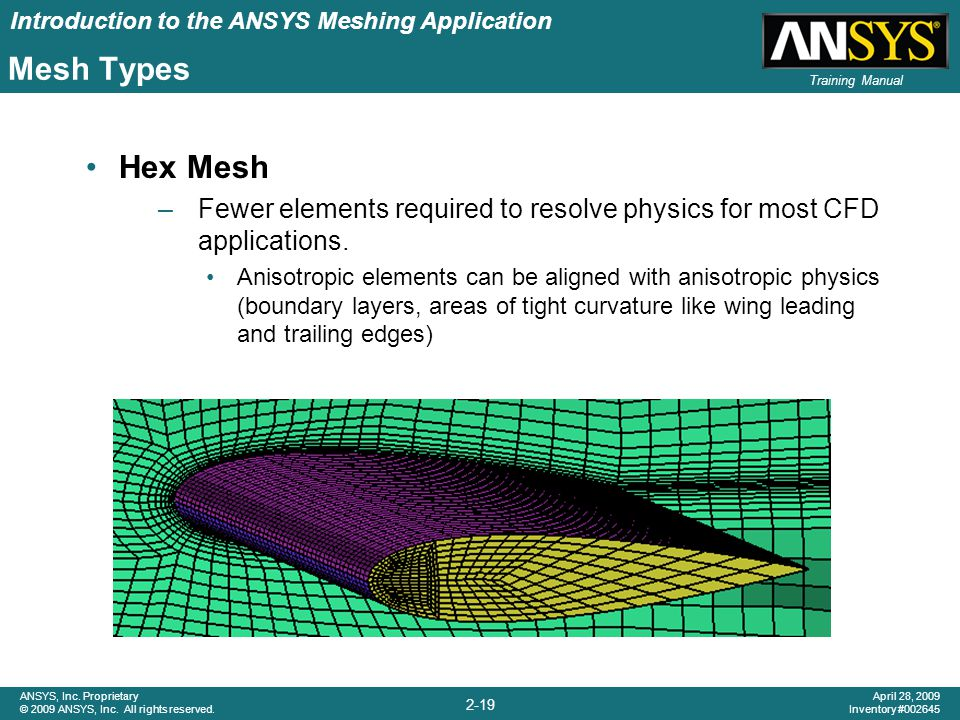 Introduction to the ANSYS Meshing Application 2-19 ANSYS, Inc. Proprietary © 2009 ANSYS, Inc. All rights reserved. April 28, 2009 Inventory #002645 Tr