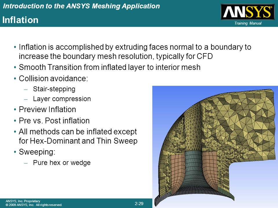 Introduction to the ANSYS Meshing Application 2-29 ANSYS, Inc. Proprietary © 2009 ANSYS, Inc. All rights reserved. April 28, 2009 Inventory #002645 Tr