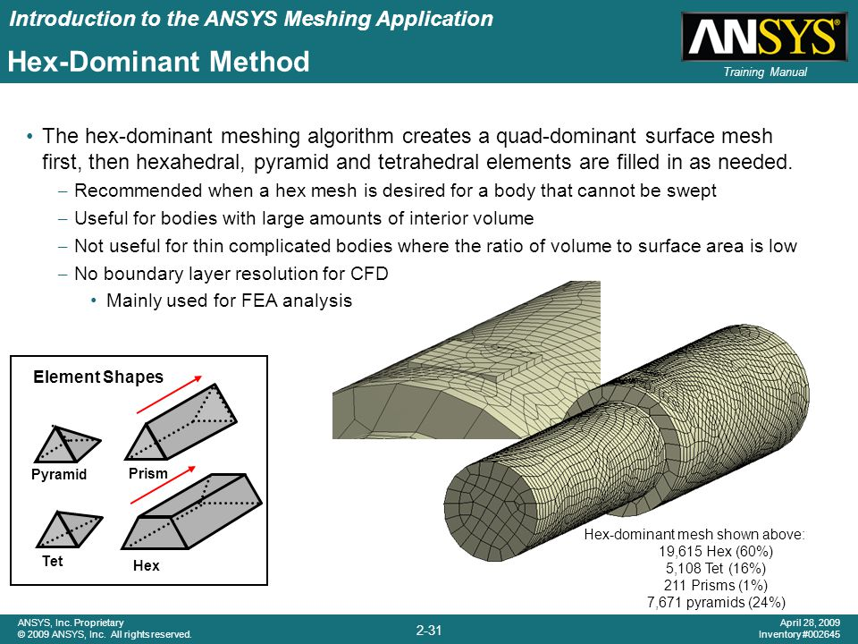 Introduction to the ANSYS Meshing Application 2-31 ANSYS, Inc. Proprietary © 2009 ANSYS, Inc. All rights reserved. April 28, 2009 Inventory #002645 Tr