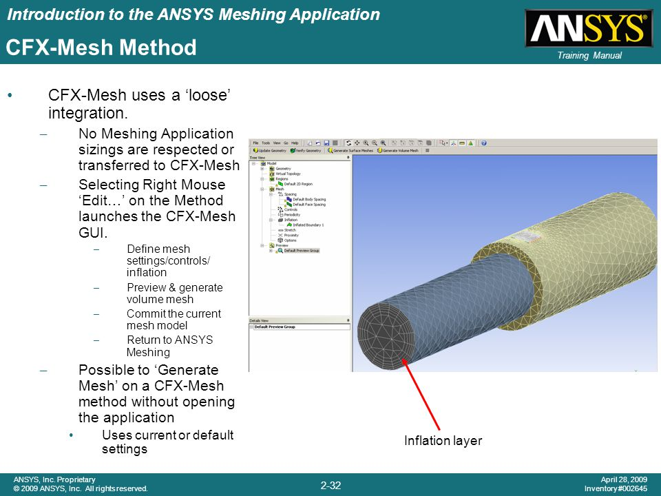 Introduction to the ANSYS Meshing Application 2-32 ANSYS, Inc. Proprietary © 2009 ANSYS, Inc. All rights reserved. April 28, 2009 Inventory #002645 Tr