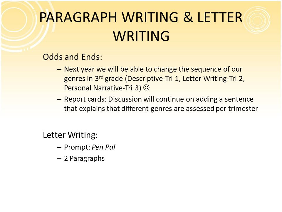 PARAGRAPH WRITING & LETTER WRITING Odds and Ends: – Next year we will be able to change the sequence of our genres in 3 rd grade (Descriptive-Tri 1, Letter Writing-Tri 2, Personal Narrative-Tri 3) – Report cards: Discussion will continue on adding a sentence that explains that different genres are assessed per trimester Letter Writing: – Prompt: Pen Pal – 2 Paragraphs
