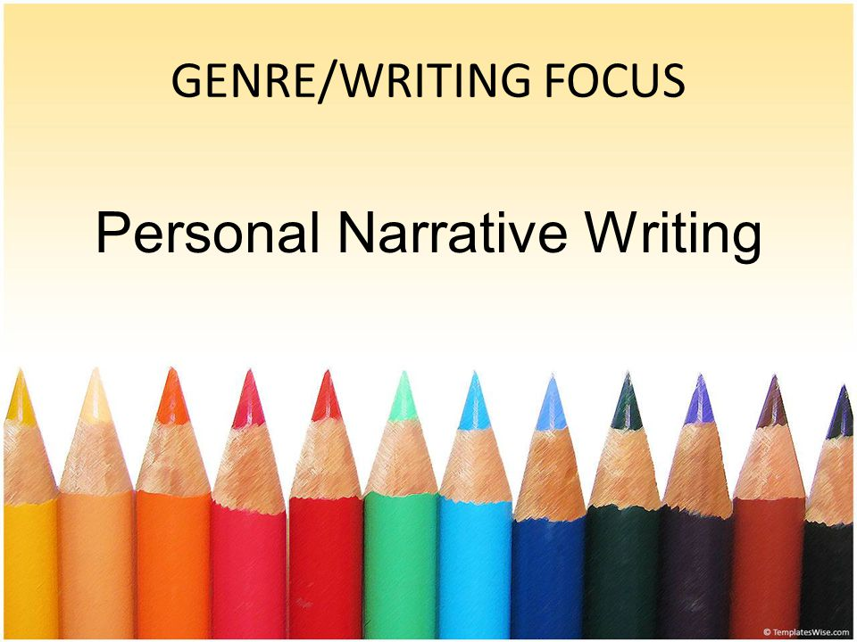 GENRE/WRITING FOCUS Personal Narrative Writing