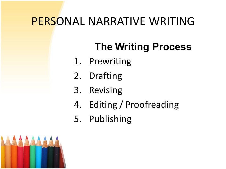 PERSONAL NARRATIVE WRITING The Writing Process 1.Prewriting 2.Drafting 3.Revising 4.Editing / Proofreading 5.Publishing