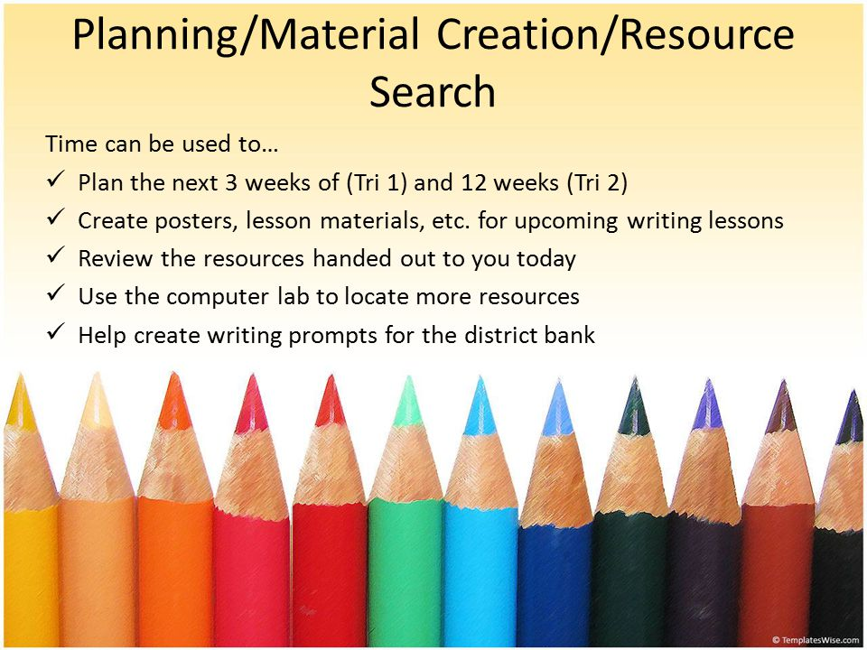 Planning/Material Creation/Resource Search Time can be used to… Plan the next 3 weeks of (Tri 1) and 12 weeks (Tri 2) Create posters, lesson materials, etc.
