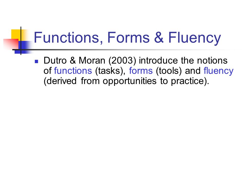 Functions, Forms & Fluency Dutro & Moran (2003) introduce the notions of functions (tasks), forms (tools) and fluency (derived from opportunities to practice).