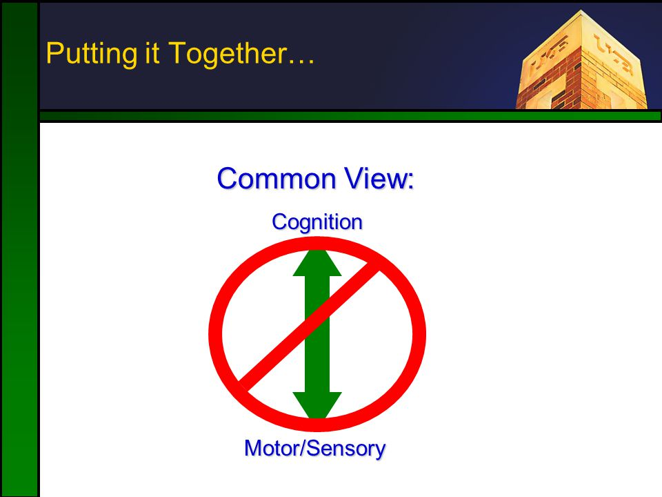 Putting it Together… Motor/Sensory Cognition Common View: