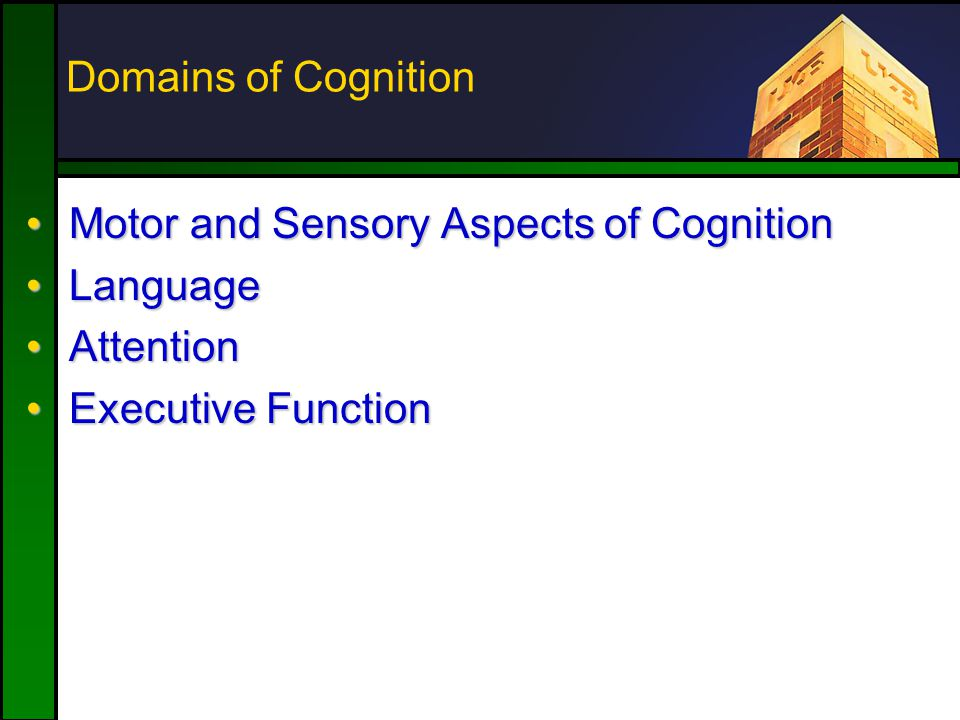 Domains of Cognition Motor and Sensory Aspects of CognitionMotor and Sensory Aspects of Cognition LanguageLanguage AttentionAttention Executive Functi