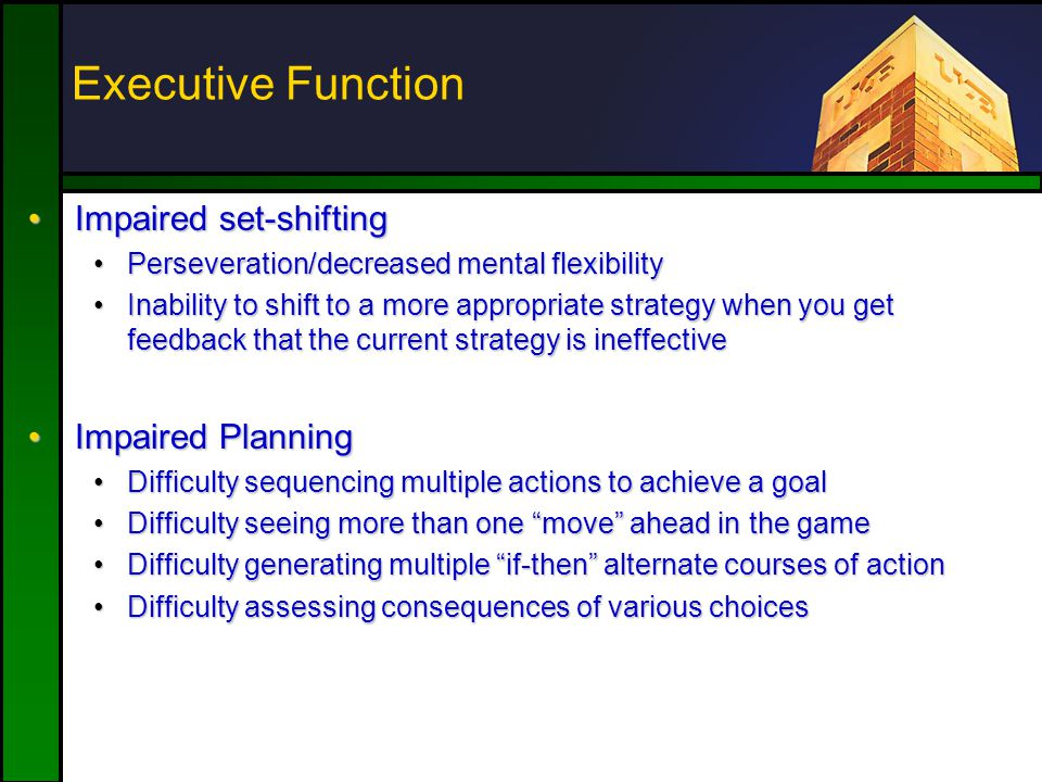 Executive Function Impaired set-shiftingImpaired set-shifting Perseveration/decreased mental flexibilityPerseveration/decreased mental flexibility Inability to shift to a more appropriate strategy when you get feedback that the current strategy is ineffectiveInability to shift to a more appropriate strategy when you get feedback that the current strategy is ineffective Impaired PlanningImpaired Planning Difficulty sequencing multiple actions to achieve a goalDifficulty sequencing multiple actions to achieve a goal Difficulty seeing more than one move ahead in the gameDifficulty seeing more than one move ahead in the game Difficulty generating multiple if-then alternate courses of actionDifficulty generating multiple if-then alternate courses of action Difficulty assessing consequences of various choicesDifficulty assessing consequences of various choices