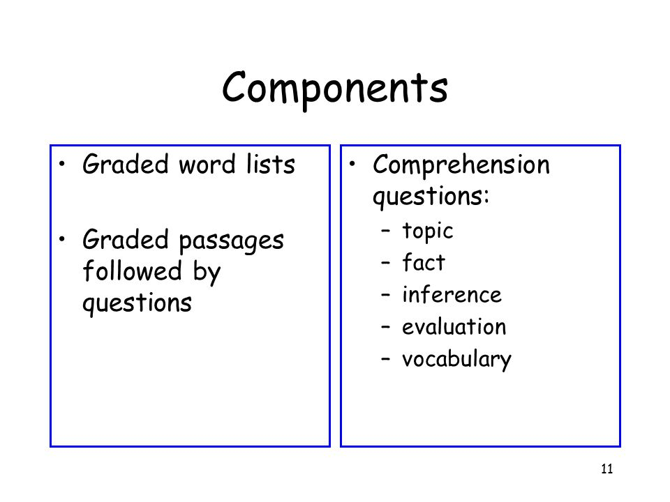 11 Components Graded word lists Graded passages followed by questions Comprehension questions: –topic –fact –inference –evaluation –vocabulary