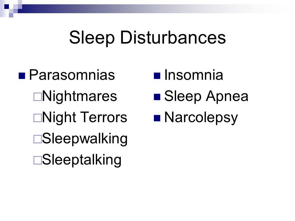 Sleep Disturbances Parasomnias  Nightmares  Night Terrors  Sleepwalking  Sleeptalking Insomnia Sleep Apnea Narcolepsy