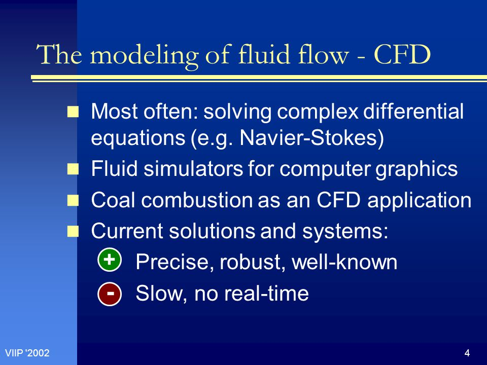4VIIP 2002 The modeling of fluid flow - CFD Most often: solving complex differential equations (e.g.