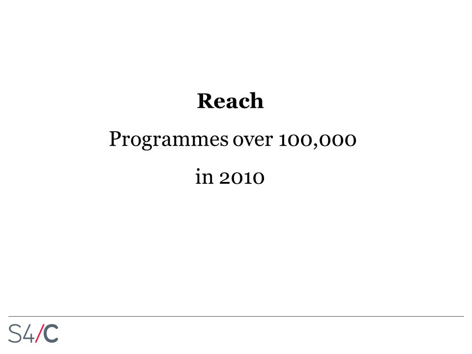 Reach Programmes over 100,000 in 2010
