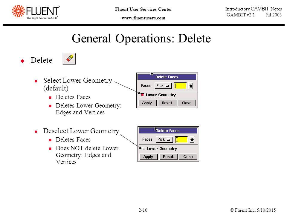 © Fluent Inc. 5/10/20152-10 Fluent User Services Center www.fluentusers.com Introductory GAMBIT Notes GAMBIT v2.1 Jul 2003 General Operations: Delete