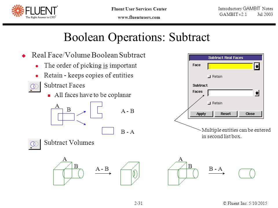 © Fluent Inc. 5/10/20152-31 Fluent User Services Center www.fluentusers.com Introductory GAMBIT Notes GAMBIT v2.1 Jul 2003 Boolean Operations: Subtrac