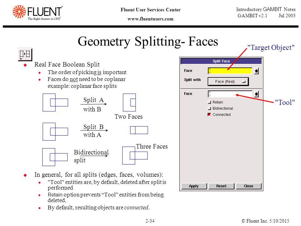 © Fluent Inc. 5/10/20152-34 Fluent User Services Center www.fluentusers.com Introductory GAMBIT Notes GAMBIT v2.1 Jul 2003 Geometry Splitting- Faces 