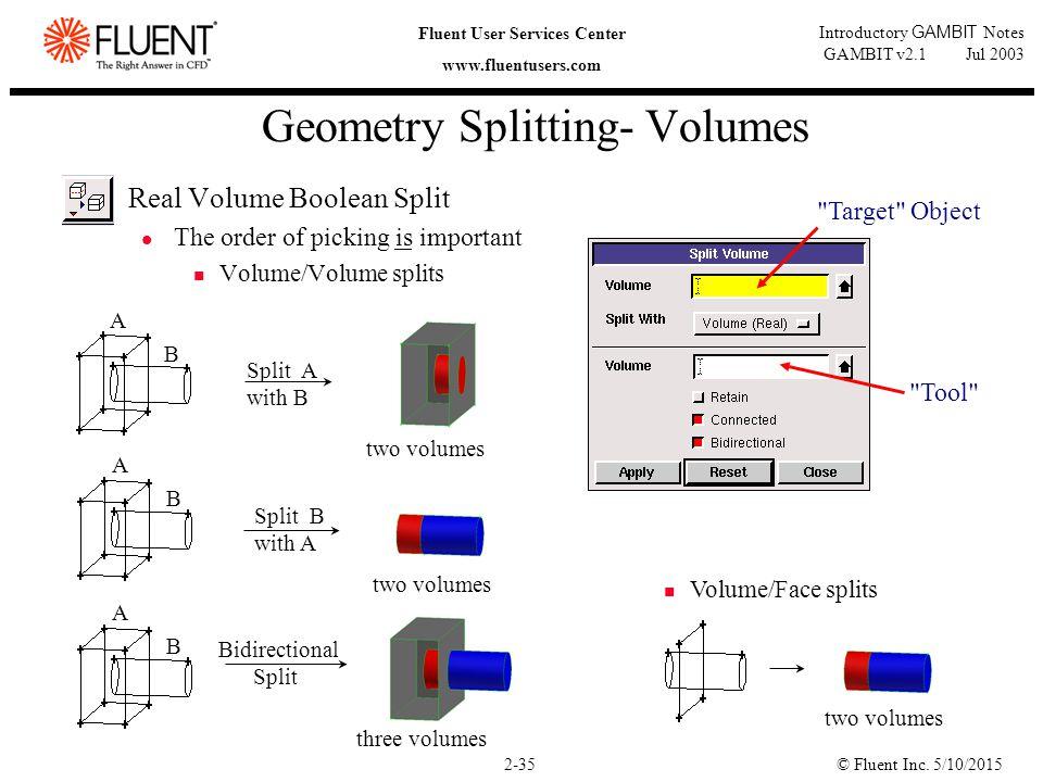 © Fluent Inc. 5/10/20152-35 Fluent User Services Center www.fluentusers.com Introductory GAMBIT Notes GAMBIT v2.1 Jul 2003 Geometry Splitting- Volumes