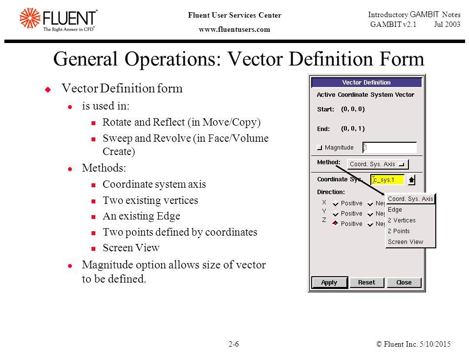 © Fluent Inc. 5/10/20152-6 Fluent User Services Center www.fluentusers.com Introductory GAMBIT Notes GAMBIT v2.1 Jul 2003 General Operations: Vector D