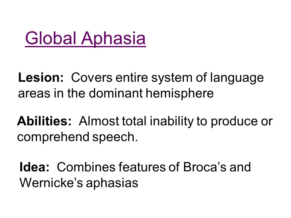Global Aphasia Lesion: Covers entire system of language areas in the dominant hemisphere Abilities: Almost total inability to produce or comprehend sp