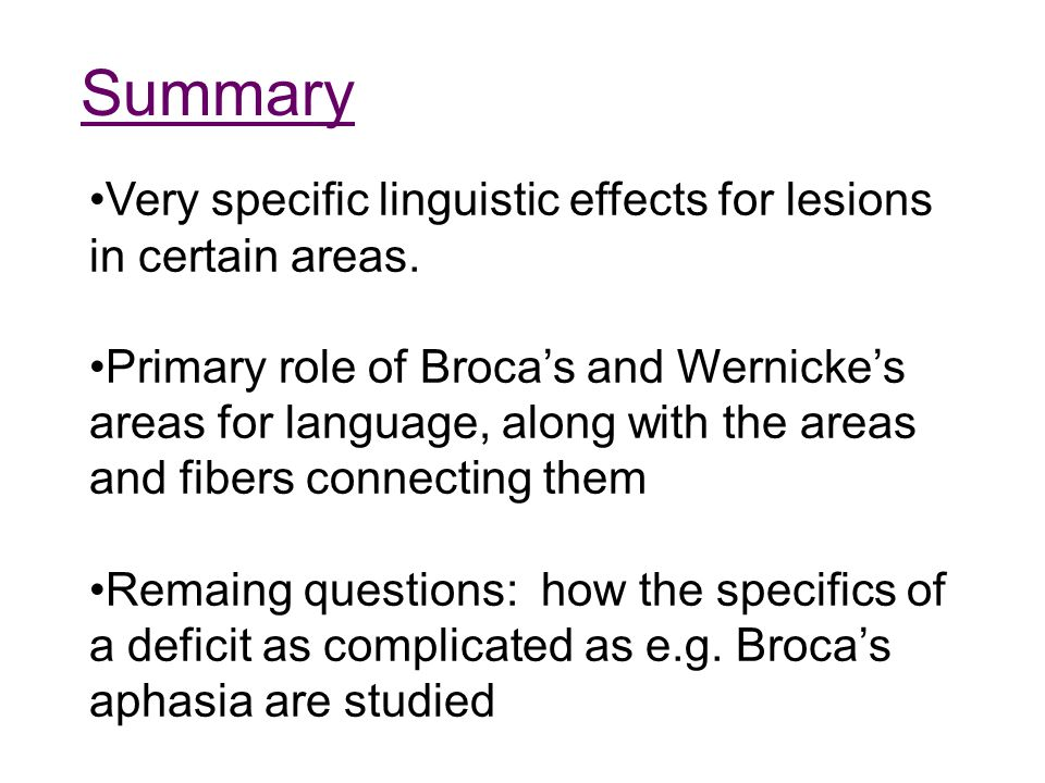 Summary Very specific linguistic effects for lesions in certain areas. Primary role of Broca's and Wernicke's areas for language, along with the areas