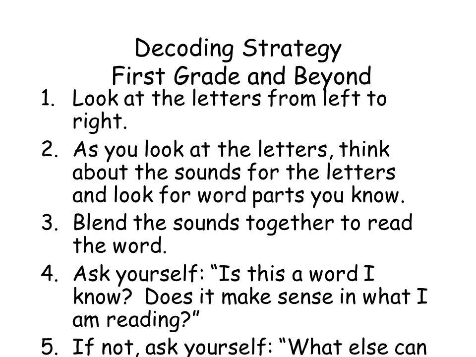Decoding Strategy First Grade and Beyond 1.Look at the letters from left to right.