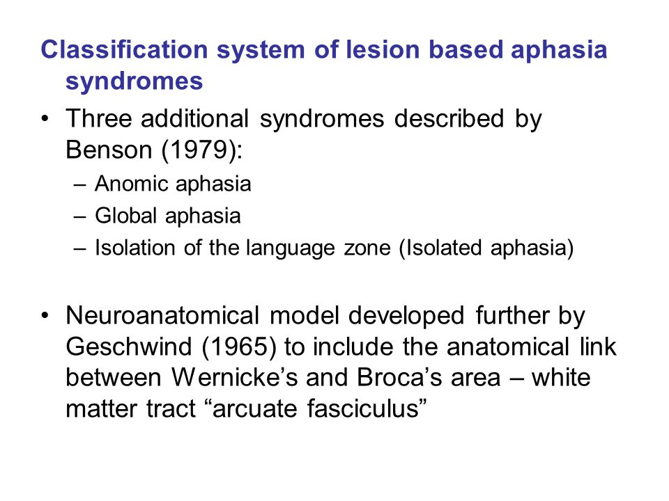 Classification system of lesion based aphasia syndromes Three additional syndromes described by Benson (1979): –Anomic aphasia –Global aphasia –Isolat