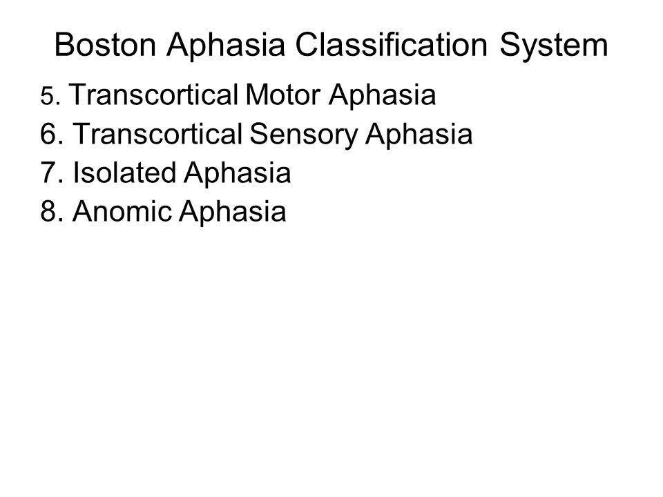 Boston Aphasia Classification System 5. Transcortical Motor Aphasia 6. Transcortical Sensory Aphasia 7. Isolated Aphasia 8. Anomic Aphasia